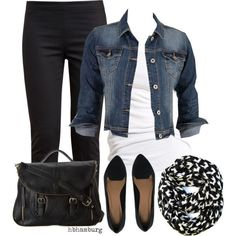 I like this look, the jean jacket, black pants, and scarf. The shoes and white shirt are just okay.