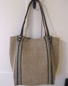 Grain Sack Tote . Berta Bag. Black Stripe Black by rebeccasaix, $185.00
