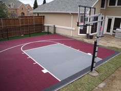 Backyard basketball court at the top of the driveway. I like the idea of using grey brick/pavers with a crimson brick/paver key. #GOCOUGS