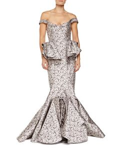 Off-the-Shoulder+Peplum+Gown+by+Zac+Posen+at+Neiman+Marcus.