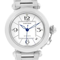 Cartier Pasha C Medium Automatic White Dial Watch W31074M7 Box Papers