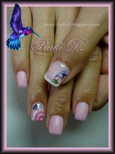 Humming bird, butterfly & flower by RadiD - Nail Art Gallery nailartgallery.nailsmag.com by Nails Magazine www.nailsmag.com #nailart