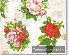 Floral Paper Napkin for Decoupage Shabby Chic Napkins, Paper Napkins For Decoupage, English Roses, Etsy Seller, Unique Jewelry, Handmade Gifts, Floral, Kid Craft Gifts, Craft Gifts