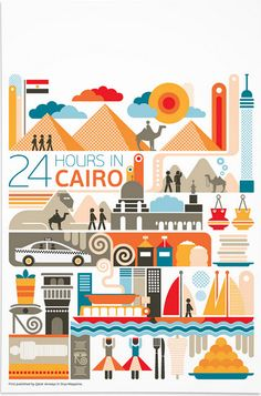 24 hours in Cairo, Egypt is part of a series designed by Fernando Volken Togni for the Oryx Magazine, Qatar Airways. If you like this illustration check out India, South. Egypt Art, Cairo Egypt, Africa Art, City Illustration, Travel Themes, Vintage Travel Posters, Grafik Design, Illustrations Posters, Design Inspiration