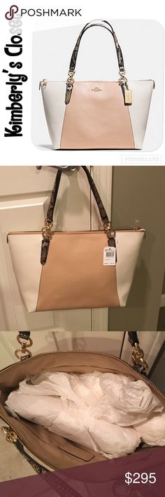 """✨COACH✨ Exotic Trim Ava Tote % AUTHENTIC COACH AVA TOTE IN EXOTIC TRIM LEATHER.  Purse is tan color (beechwood) in the center both front and back and light cream color on the sides.  Handles are python embossed.  Inside zip, cell phone and multifunction pockets.  Gold tone hardware.  Zip closure, fabric lining Handles with 9 drop.  Measures 16.75"""" (L) x 10"""" (H) x 5 (deep).  Brand new with tags!  This bag is a classy, statement piece whose neutral colors look great with any outfit in any…"""