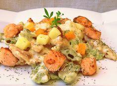 Ensalada de pasta con salmón fresco, paso a paso, foto a foto