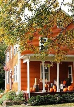 autumn house exterior - pumpkins on porch Autumn Garden, Autumn Home, Autumn Fall, Winter, Autumn Aesthetic, Orange Aesthetic, The Ranch, Exterior Paint, Exterior Colors