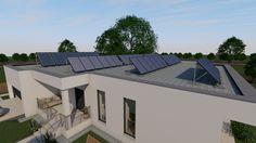 Modern, 5 szobás, 229 m2-es földszintes családi ház mintaterve, alaprajzzal A ház nulla energiás. Az energiaellátást napelemek és hibrid kollektorok biztosítják. A megtermelt áramot a háztartási helyiség beépített szekrényében elhelyezett akkumulátorokban lehet tárolni. Solar Panels, Mansions, House Styles, Outdoor Decor, Modern, Home Decor, Sun Panels, Trendy Tree, Decoration Home