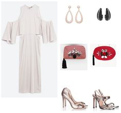 Pearl grey cold shoulder midi dress. Option 1: blush earrings+light pink clutch+blush metallized pep toes. Option 2: black and silver earrings+red clutch+silver ankle strap heeled sandals. Late Summer Evening Wedding Outfit 2016