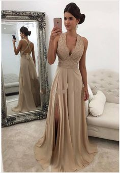 Sexy Slit Prom Dress,Open Back Evening Dress,Beaded Formal