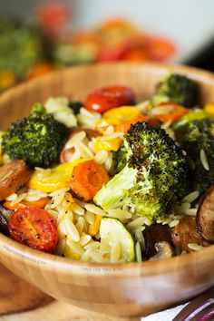 Roasted vegetables and andouille orzo is a perfect dish. The roasted vegetables along w/the andouille compliment each other in this earthy orzo dish! Sausage Recipes, Cooking Recipes, Healthy Recipes, Healthy Meals, Vegetable Dishes, Vegetable Recipes, Easy Healthy Breakfast, Healthy Eating, Clean Eating