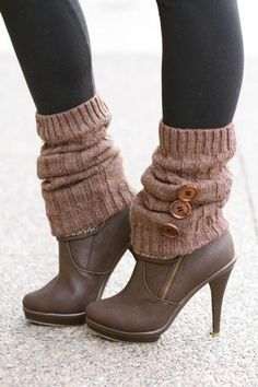 Cuddle Me Cable Knit Big Button Leg Warmers- (Chocolate)