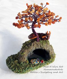 Red Dragon with Tree cave sculpture OOAK Fantasy by HammoudaArts