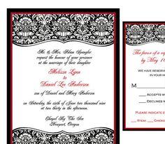 Black Damask Wedding Invitations  Formal  Sample by dearemma, $2.00