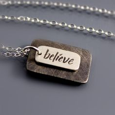 ONE OF MY FAVORITE WORDS!Sterling Silver Believe Necklace by Lisa Hopkins Design