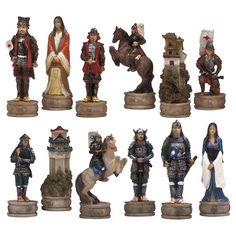 Japanese Samurai Hand-Painted Chessmen - 338