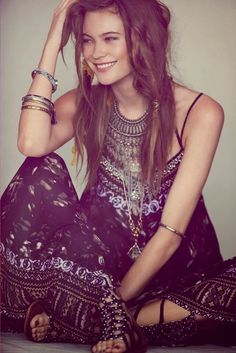 Long gypsy style boho chic dress, modern hippie masa necklaces and stacked bangle bracelets. For the BEST Bohemian fashion trends for 2014 FOLLOW http://www.pinterest.com/happygolicky/the-best-boho-chic-fashion-bohemian-jewelry-gypsy-/