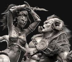 This is an old sculpt,  was made for a 3D Fan Art Challenge, The goal was to ReDesign the Characters we wanted from any fighting game I went of course with Mortal Kombat!  (Sheeva Vs Motaro)