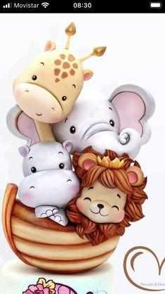 Polymer Clay Animals, Polymer Clay Flowers, Desenho Kids, Galaxy Phone Wallpaper, Queen Cakes, Safari Cakes, Kids Canvas Art, Jungle Cake, Animal Cupcakes