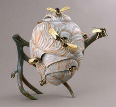 'Tea with a Touch of Honey' Michael Kehs Pottery Teapots, Ceramic Teapots, Ceramic Pottery, Ceramic Art, Teapots Unique, Teapots And Cups, Tea Art, Pot Sets, Kintsugi