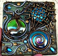 Polymer clay on clear acrylic tile with iridescent glass gems  by Christina A Kapono from ebsqart.com Love the colors.