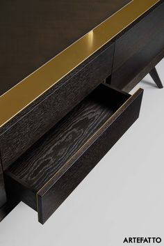 Golden Age II is a storage unit and tv console designed by Artefatto design Studio for Alivar contract division. Solid wood unit with push-pull drawers and a functional opened storage in antique brass cross-filed, supported by solid wood legs. Dimension : 190cm x 45cm x 72cm