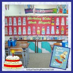 """Happy Birthday To You"" by Dr. Seuss.   Have your students complete a ""Birthday Cake"" book report project about Dr. Seuss (great for his birthday on March 2!), or they can plan a birthday party for one of their favorite Dr. Seuss characters. You can view these birthday cake templates on this page:  http://www.uniqueteachingresources.com/birthday-cake-book-report.html"