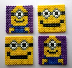Despicable Me coasters hama beads by GeekyPixels. BUT could use this as a guide to make them with plastic canvas and yarn....perfect for RJ