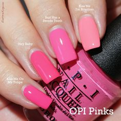 (pinkie-index, OPI) Kiss Me On My Tulips ; Hey Baby ; Suzi Has A Swede Tooth ; Kiss Me I'm Brazilian