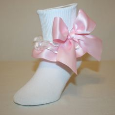 2348591e8 Girls White Nylon-Cotton Bobby Socks with Lt Pink Satin   White Organza Ribbon  Ruffle with Large Bows Jessie by Socks For A Princess