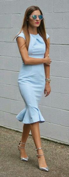 Love this blue. And also that top half, that pleated neckline is very cute