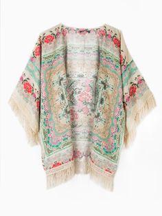 Vintage Floral Tassel Kimono | Choies