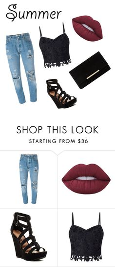 """""""Untitled #1"""" by leagoo ❤ liked on Polyvore featuring Levi's, Lime Crime, Chinese Laundry, Lipsy and Dune"""