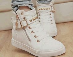 Cute sneakers, studs, studded shoes, white and gold | *Supras ...