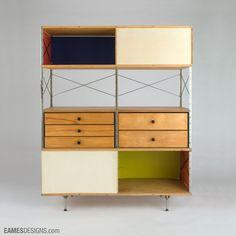 Eames Storage Unit (ESU 420-C) (1952) by American designer Charles Eames (1907-1978) for Herman Miller. 59.5 x 47 x 16 in. via Eames Designs