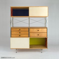 Eames Storage Unit (ESU 420-C) (1952) by American designer Charles Eames (1907-1978) for Herman Miller. 59.5 x 47 x 16 in. via Eames Designs