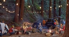 Photo composite by Ryan Schude, of friends at a campsite.