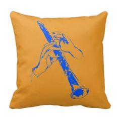 De vintage Oranje Blauwe Klarinet Benny Goodman Sierkussen