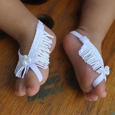 Baptism Baby Sandals White Sandals White Barefoot Sandals