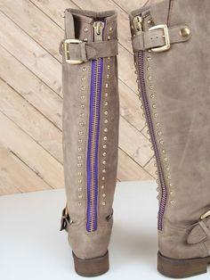 Steve Madden Lynet Boots with a unique purple zipper!
