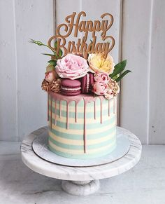 29th Birthday Cakes, Lemon Birthday Cakes, Birthday Cake For Women Simple, Birthday Drip Cake, Beautiful Birthday Cakes, Beautiful Cakes, 13 Birthday, Birthday Ideas, Striped Cake