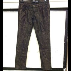 Black stretch jeans with gold overlay XS, but very stretchy,...NWOT, glitzy and casual too Pants Skinny