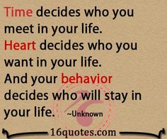 Heart decides who you want in your life