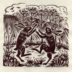 Celia Hart, March Hares (via Animalarium: Sunday Safari - March Hares) Linocut Prints, Art Prints, Rabbit Art, Silly Rabbit, March Hare, Woodblock Print, Printmaking, Illustrators, Folk Art