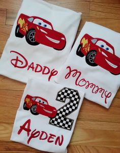 Lightning McQueen Family Cars Disney Shirt Pixar Birthday Number Embroidery(Personalizing Included) Race Track Nascar (One Shirt Listing)