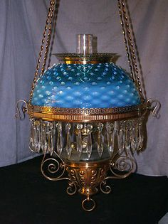 Antique Miller Hanging Oil Lamp with RARE Blue Opalescent Hobnail Shade | eBay