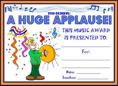 A Huge Applause Award:  You can find this printable award (and many other awards and certificates for elementary school teachers) on Unique Teaching Resources.