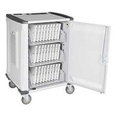 Learniture 33-Bay Deluxe Charging Cart w/ Round Robin https://www.schooloutfitters.com/catalog/product_info/pfam_id/PFAM49805/products_id/PRO66272