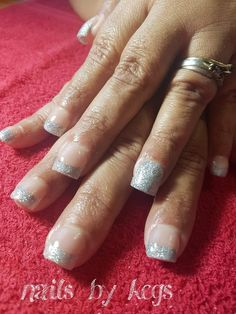 Simple french glitter Glitter French Tips, Silver Glitter, My Nails, Simple, Beauty, Silver Sequin, Cosmetology, Beauty Illustration