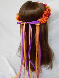 Fall Flower Crown Autumn Floral Hair Wreath Halo Renaissance Festival Faire Garb Bridal Headpiece Boho Flowergirl Garland Wedding Headband